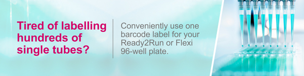 Conveniently use one barcode label for your Ready2Run or Flexi 96-well plate